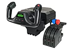 POV Hat, 14 button controls, and 3-position mode switch Stainless steel yoke shaft and 2-position clamp Comes with separate three axis lever throttle Integrated 1-USB 2.0 Port 20 Hub ; LCD Display: Yes Windows 10 or later, Windows 8.1, Windows 7, XP/...