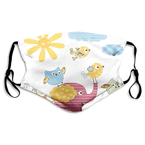 washable and reusable adult printed maskHappy Animals Colorful Design Sun Clouds Cute Elephant Birds and Owls