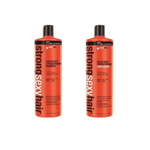 solide sexy cheveux, DE Safe Shampoing et après-shampoing Duo de couleur. sans sulfate. Infusé avec de l'aloe vera et beurre de mangue. + Gratuit pompes