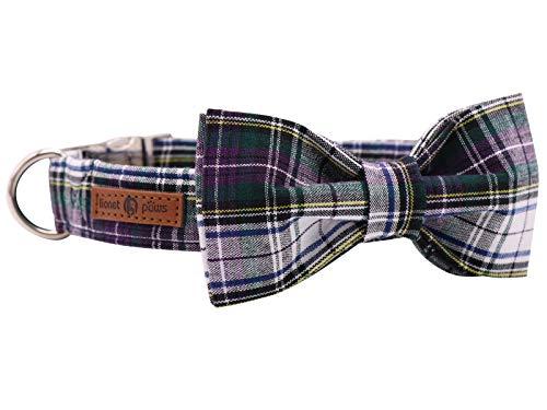 lionet paws Hundehalsband mit Fliege, Langlebiges Bequemes Baumwolle Halsband mit Metall Steckverschluss für Hunde, Hals 30-55cm