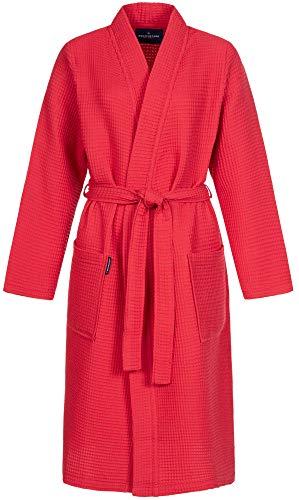 Morgenstern Bademantel für Damen aus Bio Baumwolle ohne Kapuze in Rot Sauna Mantel wadenlang Sauna Bademantel Waffelpique Größe M Paula