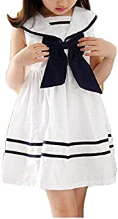 White Cotton Casual Dress For Girls