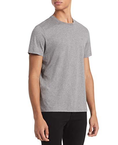 Calvin Klein Camiseta masculina de manga curta e gola redonda com proteção UV, Medium Grey Heather, Medium
