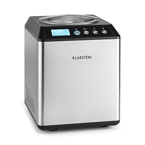 Klarstein Vanilla Sky - Eismaschine, Eisbereiter, Speiseeismaschine, Kühlhaltefunktion, LED-Display, Timer, Edelstahl, einfache Reinigung, 180 Watt, 2 Liter Fassungsvermögen, Silber
