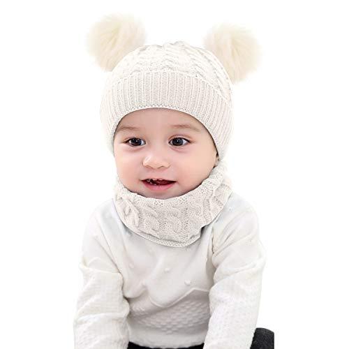 Borlai Strickmütze, Schal, Set mit Bommel, Mütze und Halstuch, warm, für den Winter, 1 - 6 Jahre, 2 Stück, Weiß
