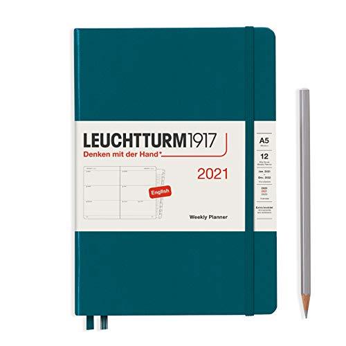 LEUCHTTURM1917 Wochenkalender 2021 Hardcover Medium (A5), 12 Monate, Pacific Green, Englisch