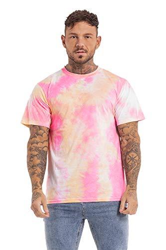 GINGTTO Tye Dye Shirts for Men,Pastel Rainbow Slim Fit T Shirt for Men Large