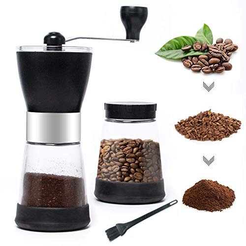 MDCGFOD Manual Coffee Grinder with 2 Glass Coffee Containers 5.5 oz for Ground Coffee Bean Grinder Machine Spice Grinder Mill with Ceramic Burr Grinder for Fine&Coarse Grind for Espresso Hand Brewed Coffee