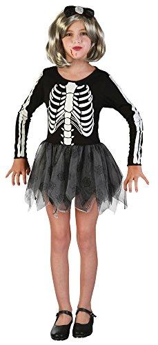 Bristol Novelty CC218 Costume de Squelette pour Fille (L) Âge 7–9 Ans, Noir, Grand