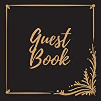 Guest Book - Gold Frame #7 -For any occasion -Light Green Color Pages - 8.5 x 8.5 Inches - 82 pages