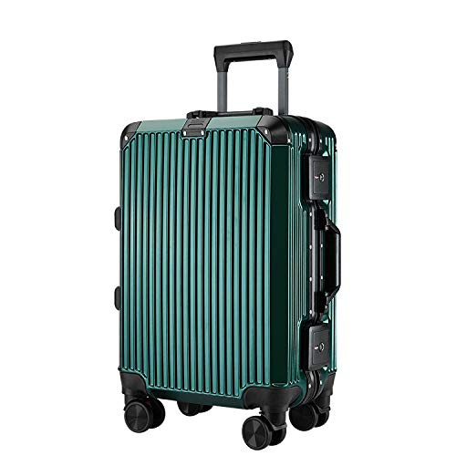Travel Luggage Case Password Luggage Pc Luggage Trolley Case Custom 2024 Inch Boarding Suitcase Travel Bag Mute Caster Aluminum Frame Cabin Luggage (Color : Green, Size : 24inches)