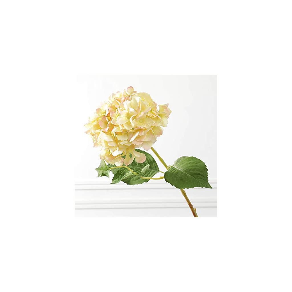 IQQI Artificial Hydrangea Yellow, Fake Plants Suitable for Wedding Bouquets, Table Decorations, Home Kitchen Garden Farmhouse Decoration