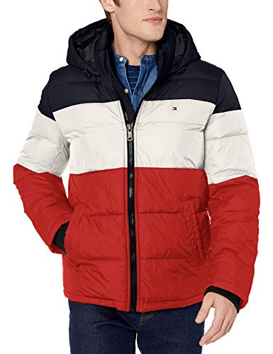 Tommy Hilfiger Men's Classic Hooded Puffer Jacket (Standard and Big & Tall), midnight/ice/orange color Block, X-Large