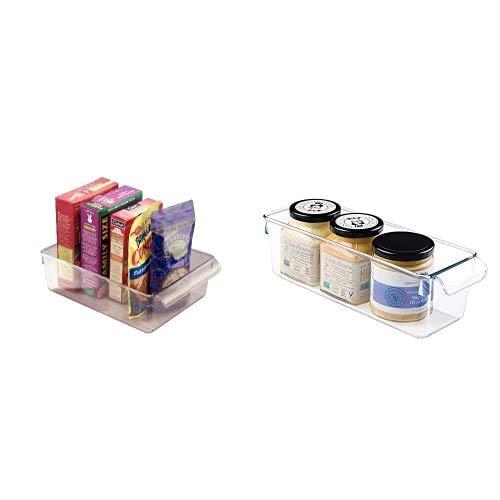 iDesign Aufbewahrungsbox mit Griff, große Vorratsdose ohne Deckel aus Kunststoff & Aufbewahrungsbox mit Griff, kleine Vorratsdose ohne Deckel aus Kunststoff, Küchenorganizer für Vorratsschrank