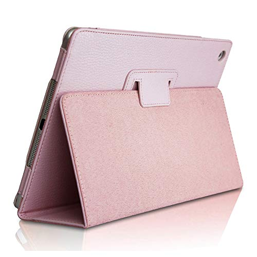 iPad Mini 1 2 3 Case, FANSONG Bi-fold Series Litchi Stria Ultra Thin Magnetic PU Leather Smart Protective Cover Case [Flip Stand,Sleep Function] for Apple iPad Mini 2/3 7.9-inch, Pink