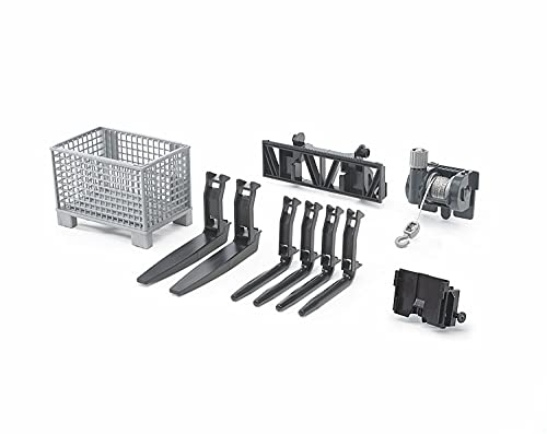 Bruder Toys - Construction Realistic Attachments and Accessories for Frontloader Vehicle Including a Basket Pallet, Winch, and Forks - Ages 3+