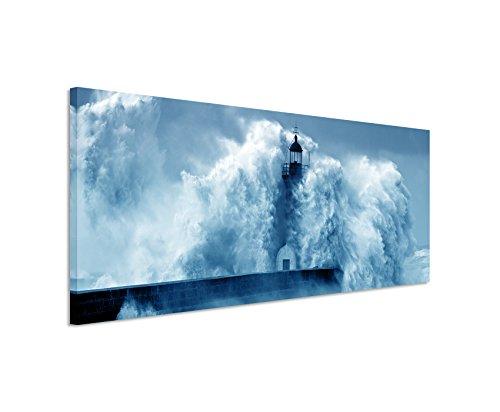 Sinus Art 150x50cm Wandbild – Farbe Blau Petrol Panoramabild Wandbild auf echter Leinwand in sehr hoher Qualität - Leuchtturm im Sturm Fluss Douro