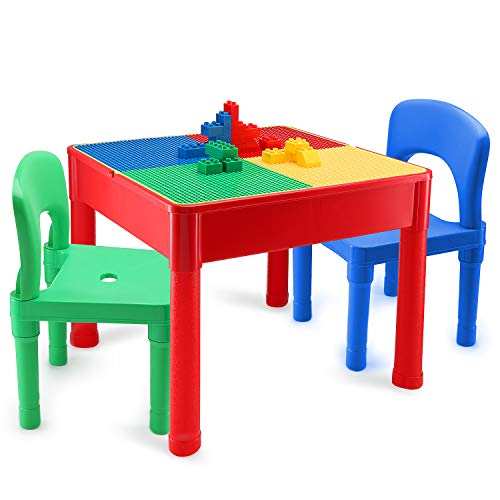 Kids Activity Table and Chair Set - 3 in 1 Kids Table Use As A Water Table, Building Block Table, Play and Arts and Crafts Table, with Storage Space, for Kids, Toddlers - Includes Table and 2 Chairs