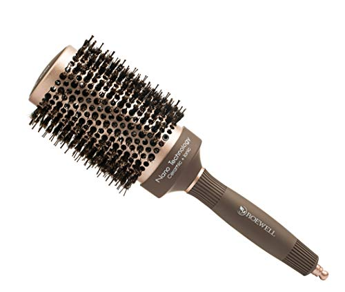 Roewell Thermal Ceramic Ionic Round Barrel Anti-Static Hair Brush with Boar Bristle, Roller Hairbrush for Blow Drying, Curling, Straightening, Add Volume & Shine (3.3 inch overall(2 inch barrel))