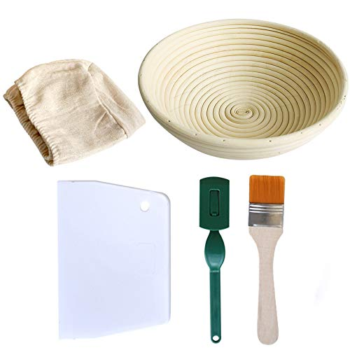 Gärkörbchen für Brot, 21 cm, rund, Brotback-Herstellung, Rattan, Sauerteig, Gärkorb für professionelle Heimküche (mit Stoffeinlage, Teigschaber, Brotlamme und breiter Bürste)