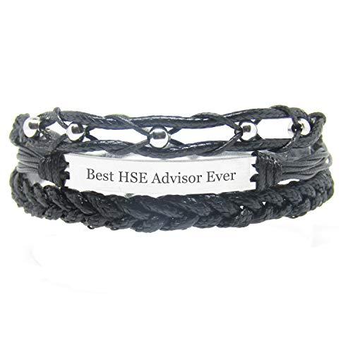 Miiras Job Handgemachtes Armband für Frauen - Best HSE Advisor Ever - Schwarz - Aus Geflochtenes Seil und Rostfreier Stahl - Gift for HSE Advisor
