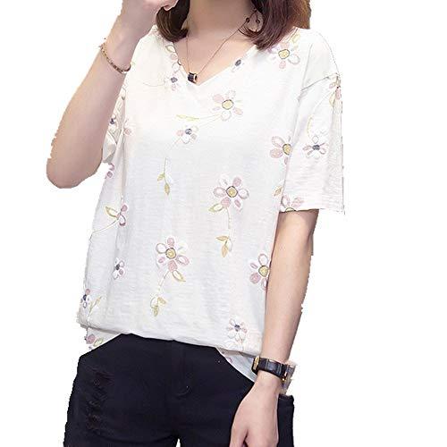 Camiseta de manga corta para mujer. Blanco XXL