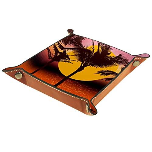 Sunset Coconut Tree Palm Silhouette Beach - Bandeja de cuero para colgar en los dados, organizador para llaves, joyas, perfumes, gafas y relojes