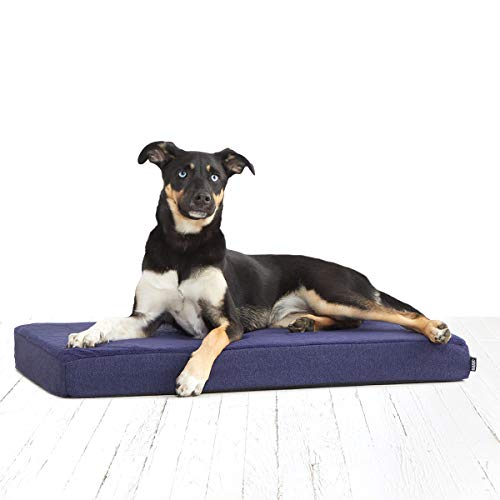Barkbox Memory Foam Platform Dog Bed | Plush Mattress for Orthopedic Joint Relief | Machine Washable Cuddler with Removable Cover and Water-Resistant Lining | Includes Squeaker Toy (Medium, Navy)