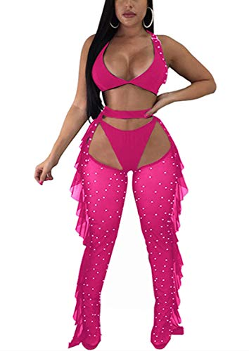 Yeshire Women's Sexy 2 Pieces Outfit See Through Crop Top and Pants Sets Mesh Backless Jumpsuits Clubwear Small Rose