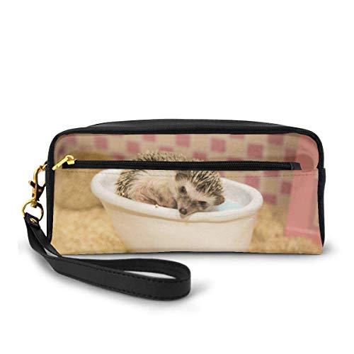 Tragbare Pu-Leder-Federmäppchen - Igel-Bad in der Badewanne Kosmetische Make-up-Tasche - Fashion School Bleistifthalter mit Reißverschluss