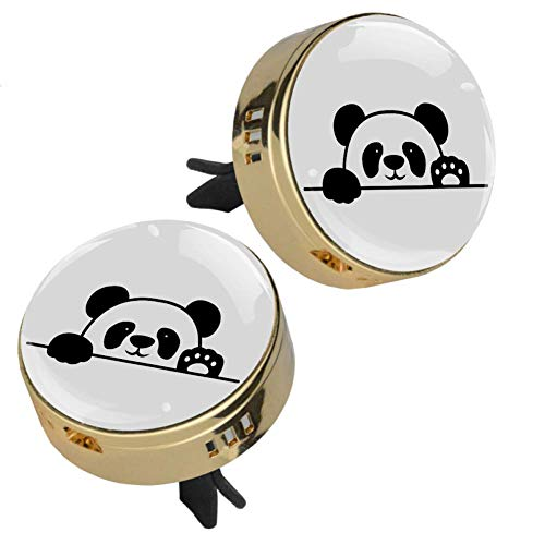 Cartoon Panda Gold 2 car aromatherapy diffusers for essential oils Glass crystal metal alloy diffusers(4Refill pads)For adults children adolescents men and women 1.33inX1.83in