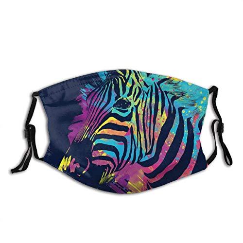 Black Beige Pinto A Zebra Made of Colorful Splatters Zebra Print Anti-Pet Hair for Men Women Adult Outdoor Indoor Balaclava Face Mask Mouth Protection Cotton with 2 Filters