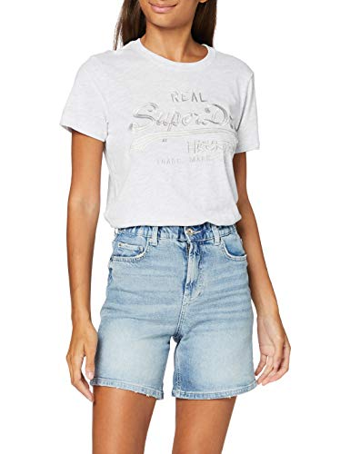 PIECES Damen PCLEAH MOM HW Elastic WB LB110 BC Jeans-Shorts, Light Blue Denim, L