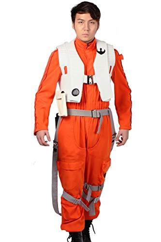 Cosplay Kostüm Overall Vest Zahnspange Pilot Outfit X-Wing Kämpfer Verrückte Kleidung für Erwachsene Halloween, Orange, Gr. L