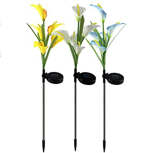 Solarleuchte Garten,3 Stück Calla Lilie Solarlicht mit 5 Kopf LED Farbwechselnde Gartenpfahl Lampen im Freien Größere Blumen für Weg,Terrasse, Backyard,Rasen,Gartendekoration(Blau&Gelb & Weiß)