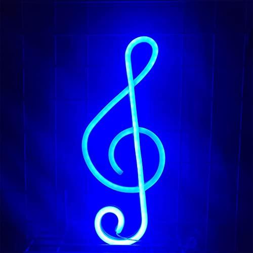Letrero de neón con forma de nota musical, luz LED con forma de música, utilizado para dormitorio, sala de estar, fiesta de cumpleaños, decoración de pared navideña (fuente de alimentación USB bater