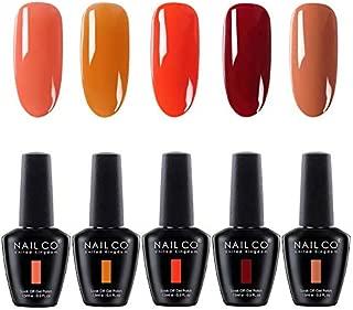 NAILCO 15ml Soak Off UV Led Nail Gel Polish Nail Art Salon Manicure Lacquer Varnish Set NC504 of 5 Colors