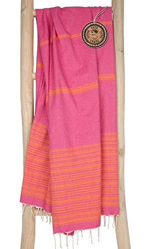 ZusenZomer Hamamtuch Damen 100x190 - Fouta Hammam Badetuch Strandtuch XL - 100% gekämmte Baumwolle Oeko-TEX® - Fair Trade Hammamtuch (Rosa Orange)