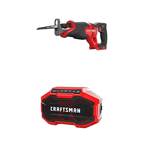 CRAFTSMAN V20 Reciprocating Saw, Cordless with Bluetooth Speaker, Tools Only (CMCS300B & CMCR001B)