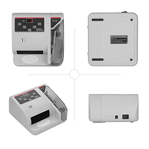 Decdeal Portable Mini Money Counter Worldwide Currency Cash Banknote Bill Counting Machine Detector with UV/MG/WM Counterfeit Detection 600 Bills Per Minute LED Display Screen