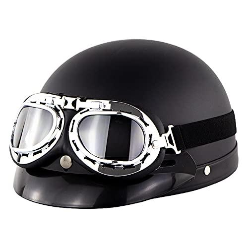 HBRE Retro Moto-Casco,Certificado CE Integral Casco De Seguridad Resistente,Transpirable con Gafas para Deportes Al Aire Libre 57-60cm,1