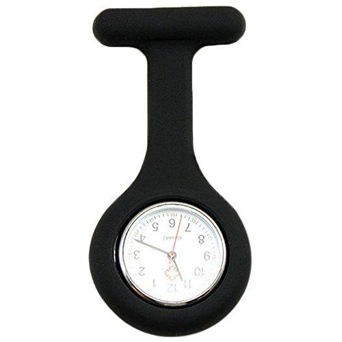 Sanwood Schwesternuhr zum Anstecken, Silikon, Uhr für Pflegepersonal Gr. One size, schwarz