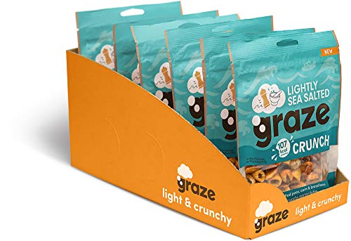 Graze Lightly Sea Salted Crunch - Vegan Savoury Healthy Snack Sharing Bag - 104g (Pack of 6)