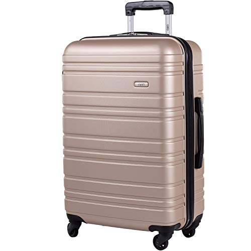 ABS Hard Shell 26 Inch Suitcase - Travel Luggage by A2B with 4 Spinner Wheels | Telescopic Drag Handle | Hard Sided Suitcases Weighing 3.4kg Cap 62L Height 66cm (Champagne, Medium)