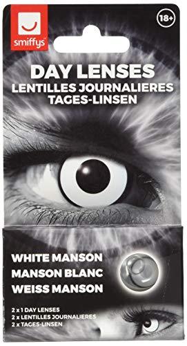 LENTI A CONTATTO COLORATE HALLOWEEN GIORNALIERE BIANCHE NERE - Accessori Costume Sterili Smiffys 18+ (WHITE MANSON)