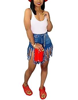 SIAEAMRG Women s Juniors Denim Shorts High Waisted Frayed Raw Hem Tassels Short Pants Jeans  Blue M