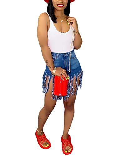SIAEAMRG Women's Juniors Denim Shorts, High Waisted Frayed Raw Hem Tassels Short Pants Jeans (Blue, XL)