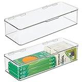 mDesign Juego de 2 organizadores de escritorio – Organizador de oficina apilable de plástico sin BPA – Caja de almacenamiento alargada con tapa para bolígrafos, gomas y más – transparente