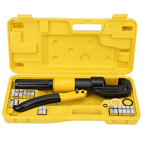 Alicates hidráulicos portátiles, mango ergonómico Cómodo Buen rendimiento Engarzadoras manuales convenientes con 16 moldes Estuche de transporte para herramienta de operación