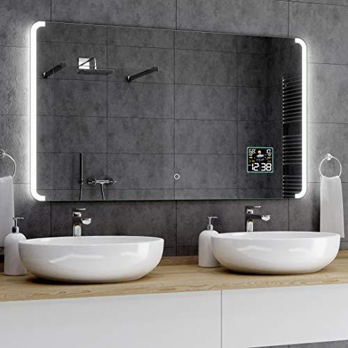Alasta® Premium Badkamerspiegel met LED - 60x120 cm - Model Seattle - Spiegel met Aanraaklichtschakelaar en Weerstation P2